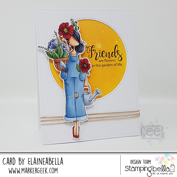 Marker Geek: Stamping Bella Curvy Girl Gardener Card & Copic Colouring Video