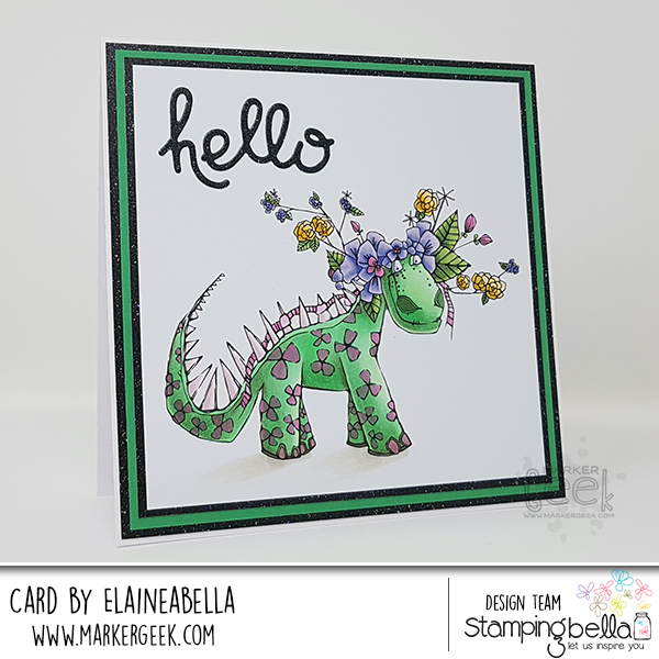 Marker Geek: Stamping Bella Tumbleblossom Dinosaur Card & Copic Colouring Video