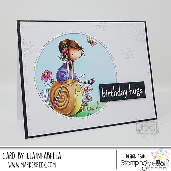 Marker Geek: Stamping Bella Tiny Townie Sally Rides her Snail Card & Copic Colouring Video