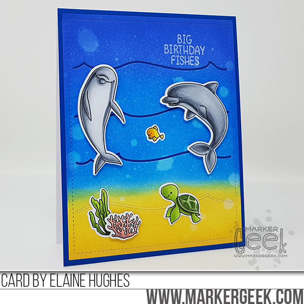 Marker Geek: Big Birthday Fishes Card featuring Mama Elephant Marine Friends