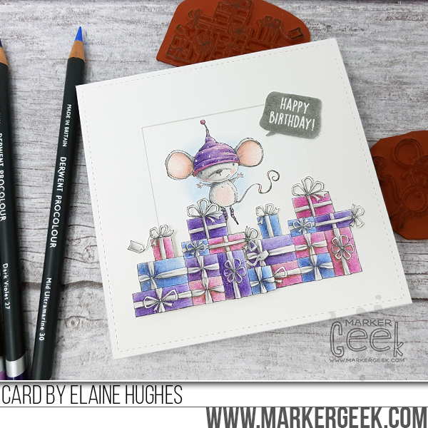 Marker Geek: Holly Mouse Birthday Card featuring Purple Onion Designs stamps by Stacey Yacula