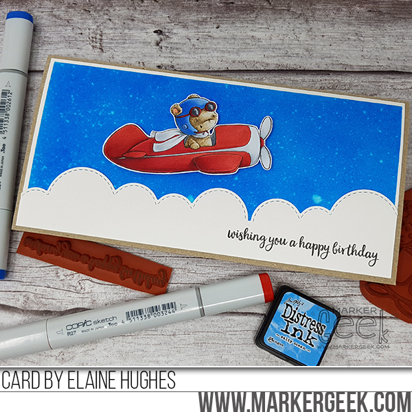 Marker Geek: T-Bird Birthday Card featuring Purple Onion Designs stamps by Stacey Yacula