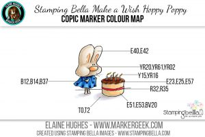 Stamping Bella Make a Wish Hoppy Poppy The Daily Marker 30 Day Challenge. Click through for the Copic Colour Map and videos!