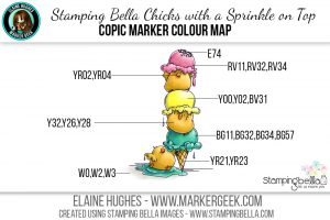 Stamping Bella Chicks with a Sprinkle on Top #thedailymarker30day Copic Colour Map