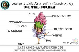 Stamping Bella Edna with a Cupcake on Top #thedailymarker30day Copic Colour Map