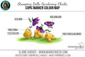 Stamping Bella Gardening Chicks #thedailymarker30day Copic Colour Map
