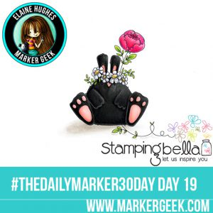 Stamping Bella The Bunny Wobble and the Peony #thedailymarker30day Click through for Copic Colour Maps and videos!
