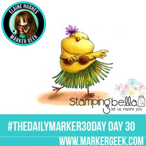 Stamping Bella Hula Chick #thedailymarker30day Click through for Copic Colour Maps and videos!